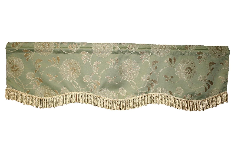 "Violet Linen Legacy Damask Window Valance, 60"" x 15"", Green"