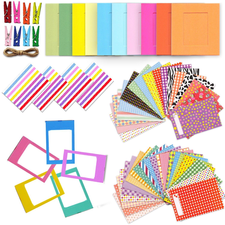 Xtech Fuji Mini 9/8 Accessories Kit with Mini Photos Album, 120 Mini Photos Sticker Frames, Colorful Hanging Frames with Hanging Clips and String, Colorful Desk Frames and Corner Sticker Frames