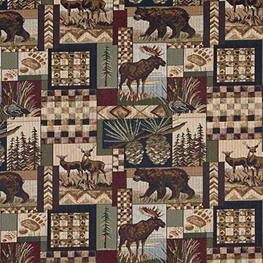 1 Yard PETERS CABIN MOOSE BEAR DEER TREE Woven Tapestry Upholstery Fabric BTY