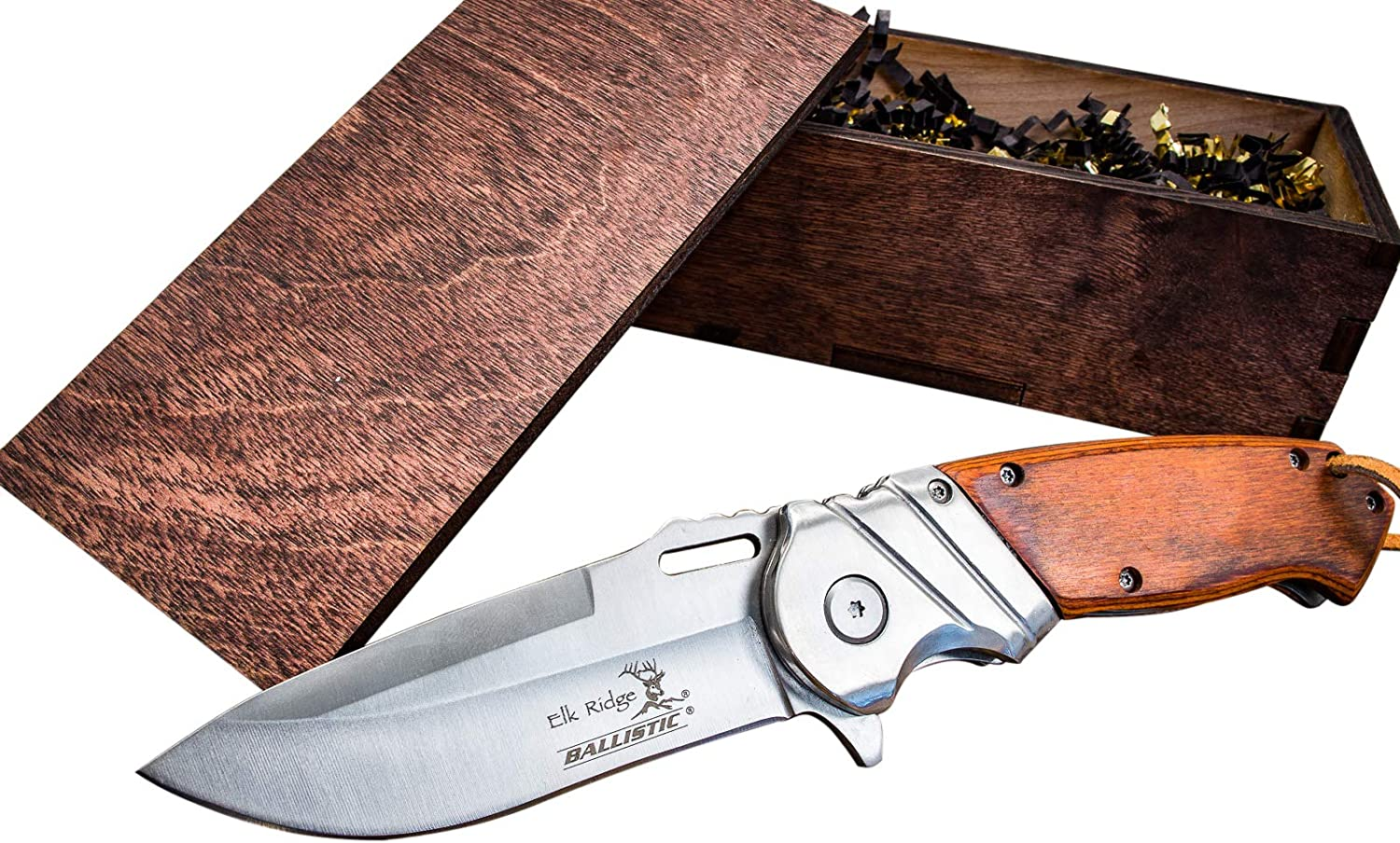 Pocket Knife Wood Box- Boyfriend or Groomsmen Wooden Gift Boxes- Groomsman Hunting Set- Sharp Elk Ridge Folding Blade, Spring Assisted Open, w Clip- Mens Husband Wedding Gifts 003SW