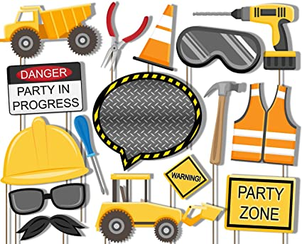 b82b1ba1493a Image Unavailable. Image not available for. Color  Construction Trucks Photo  Booth Props Kit - 20 Pack Party ...