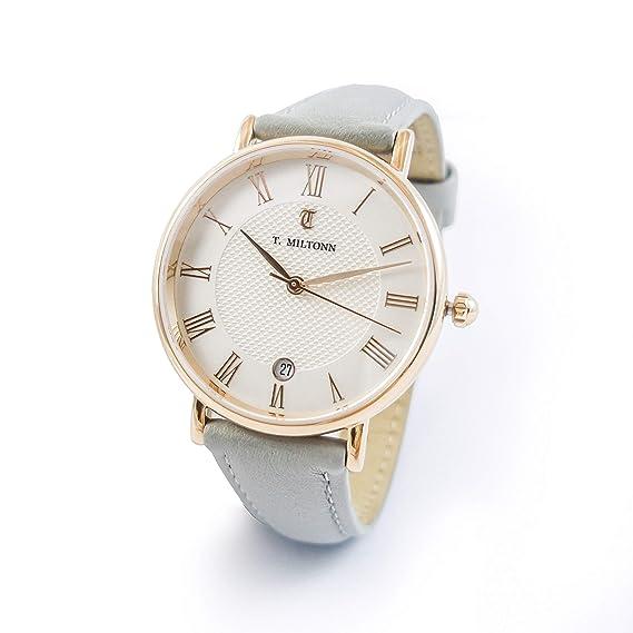 Reloj mujer extra-plate chapado oro rosa pulsera cuero gris