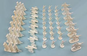 Napoleonic & Civil War Military Miniatures (White): Plastic Toy Soldiers Set: Infantry, Cavalry, Artillery, Ships