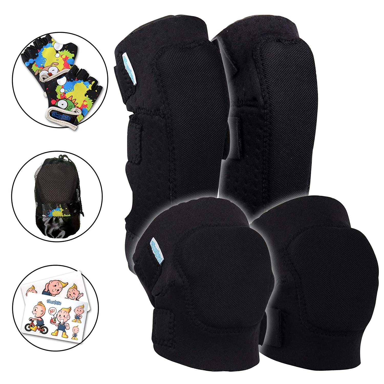 Innovative Soft Kids Knee and Elbow Pads with Bike Gloves | Toddler Protective Gear Set w Mesh Bag Sticker | Comfortable Flexible | Roller Skating Skateboard Bike Knee Pads for Children Boys Girls