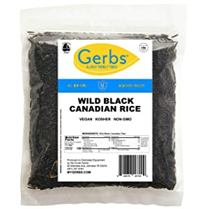 Gerbs Wild Black Rice - 4 LBS. - Top 14 Food Allergy Free & NON GMO – Vegan, Keto Safe & Kosher - Premium Black Whole Grain, Product of Canada