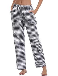 215717c0124365 Aibrou Damen Schlafanzughose Pyjamahose Nachtwäsche Hose Baumwolle Lang  Sleep Hose Pants Kariert