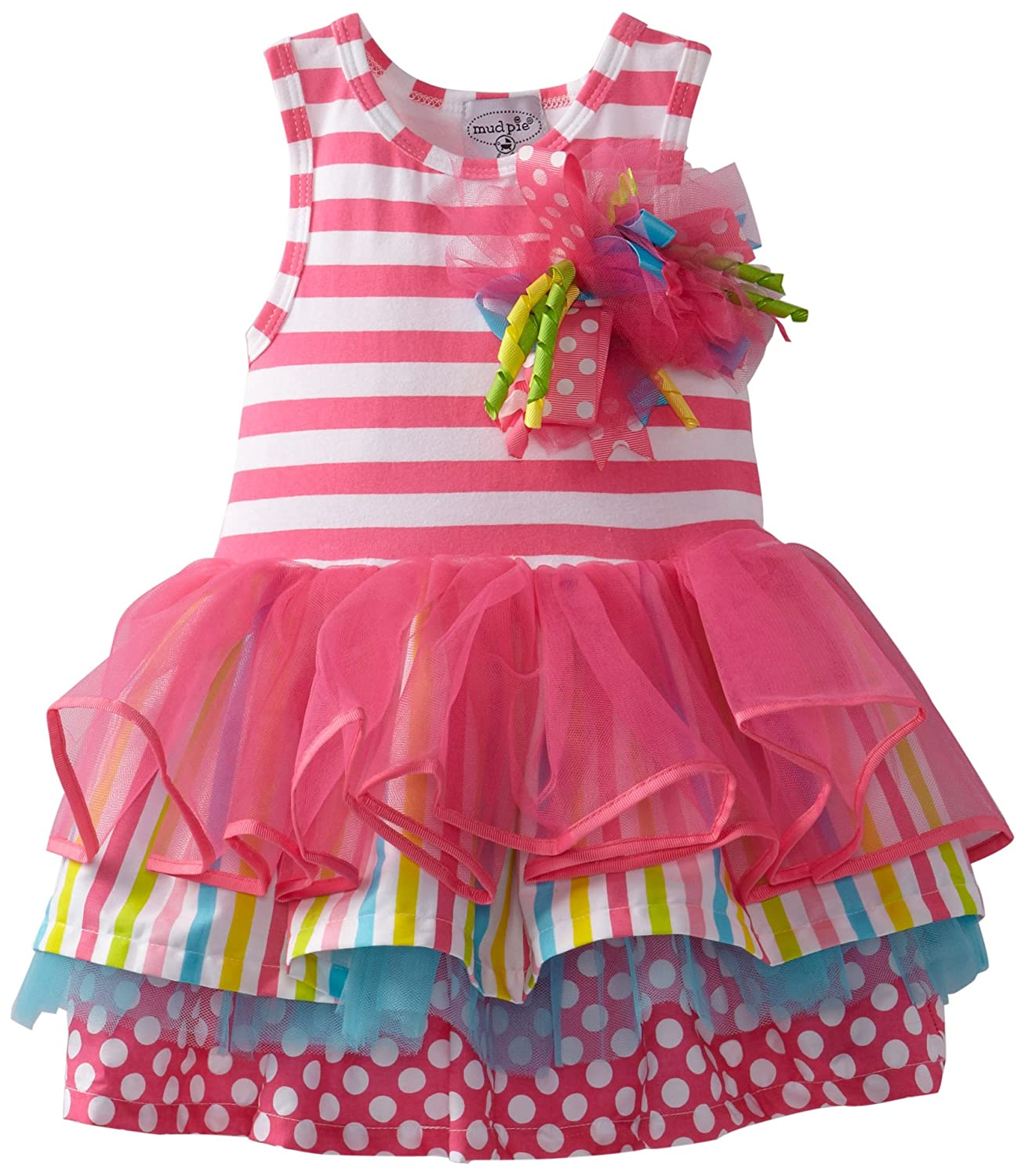 Amazon.com: Mud Pie Baby Girls\' Tiered Birthday Party Tutu Dress ...