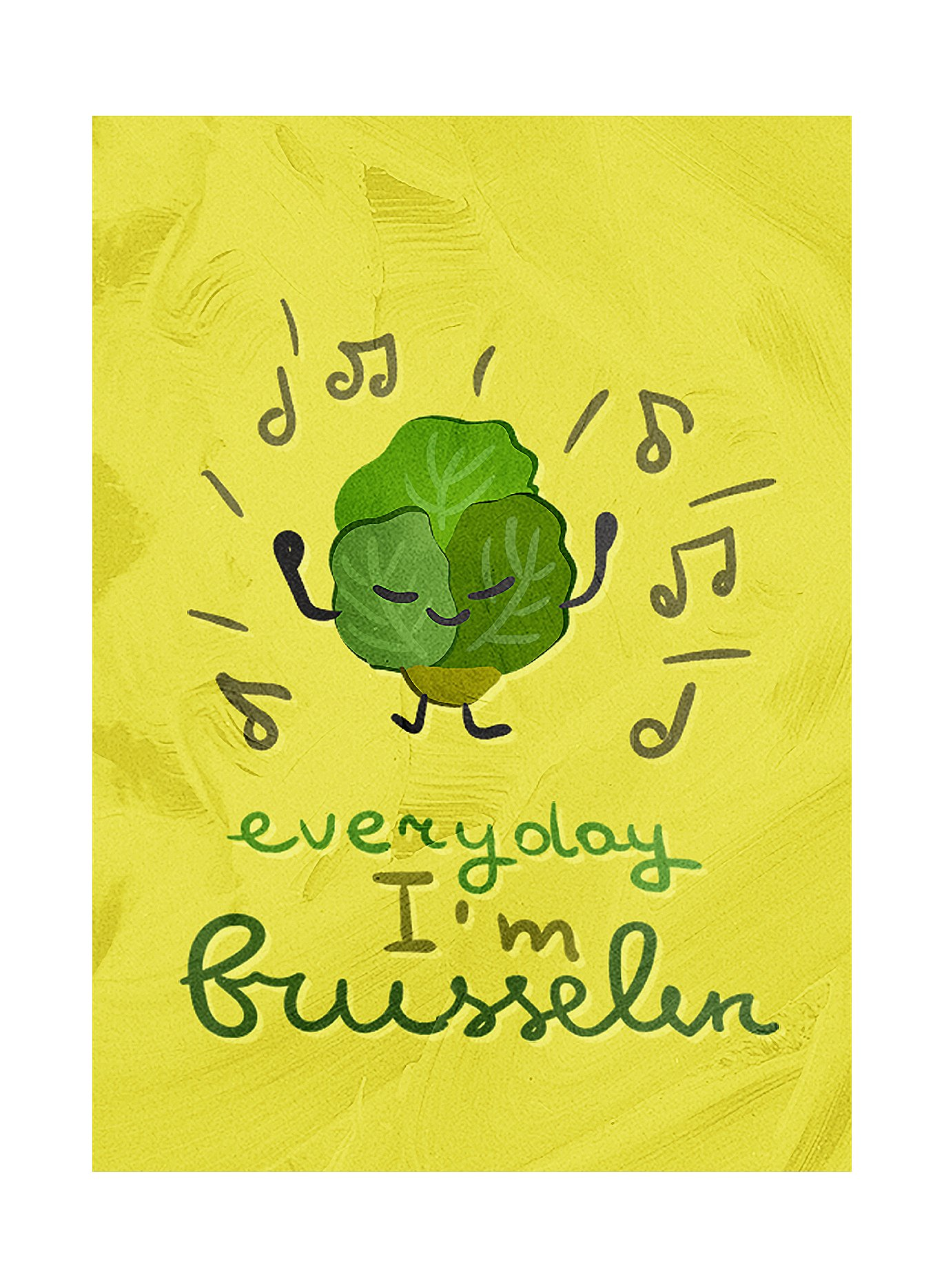 iCandy Combat Everyday I'm Brusselin Brussel Sprout Kitchen Pun Small 1 Pack of Sign, 7.5x10.5 Inch