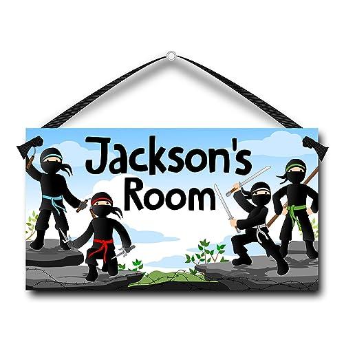 Name Sign Personalized for Kids Ninja Boys Bedroom Door Plaque