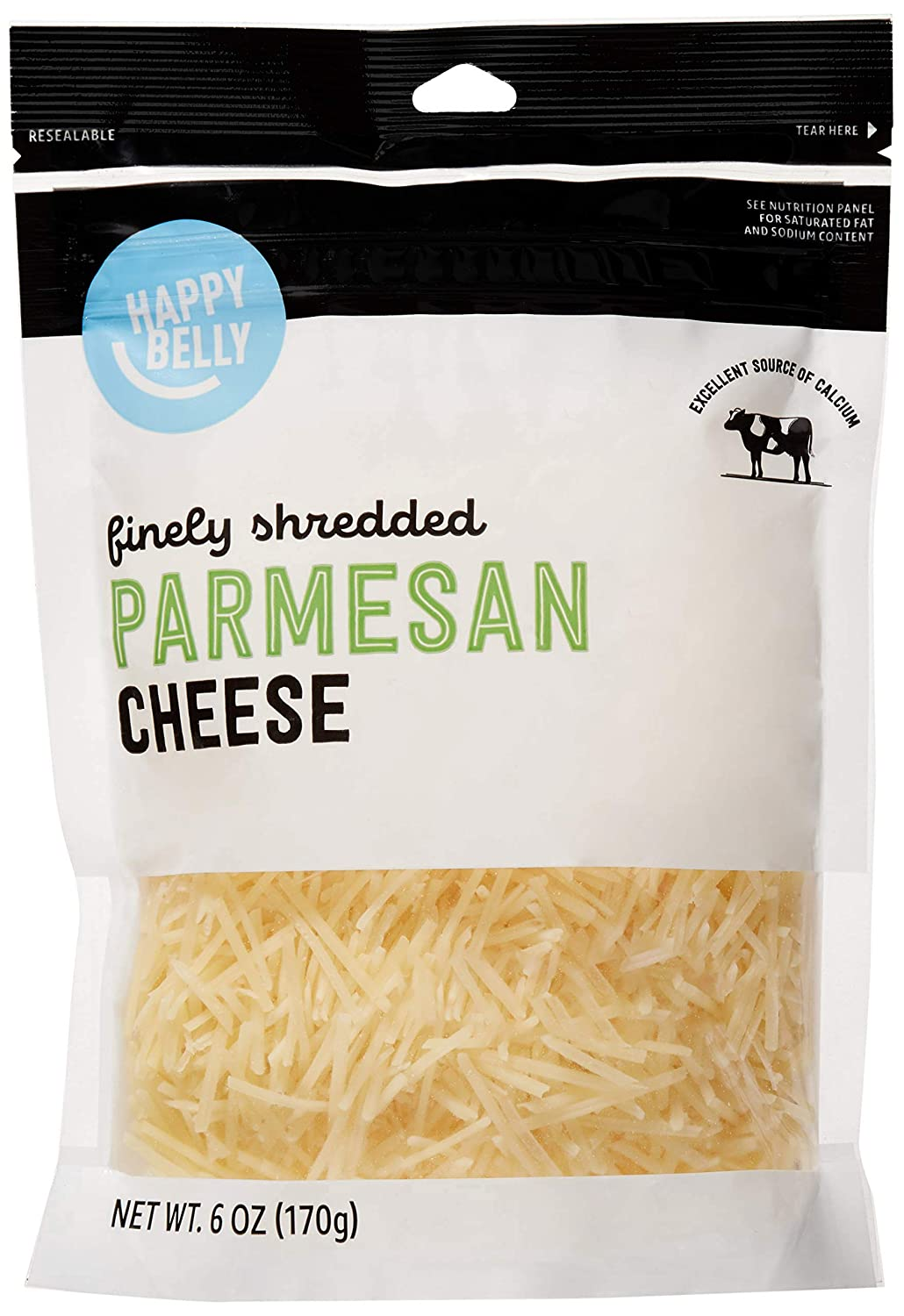 Amazon Brand - Happy Belly Shredded Parmesan Cheese, 6 Ounce