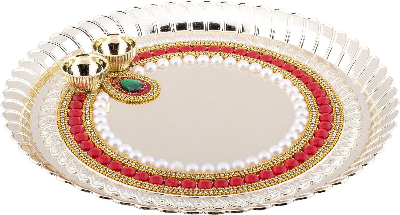 Handicraft Storeroom Pooja Thali Tilak Decorative Platter Set (Golden-Round)