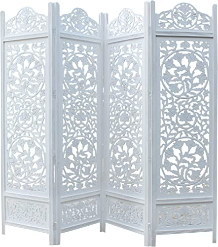 COTTON CRAFT Kamal The Lotus Antique White 4 Panel Handcrafted Wood Room Divider Screen 72×80, Intricately Carved on Both Sides Making it Fully Reversible, Highly Versatile. Hides Clutter, adds d cor