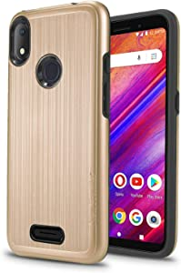 "New Frontier Tough Hybrid Case for BLU VIVO X5-5.7"" 2019, Armor,Shockproof,Dual Layer,Drop Protection (Gold)"