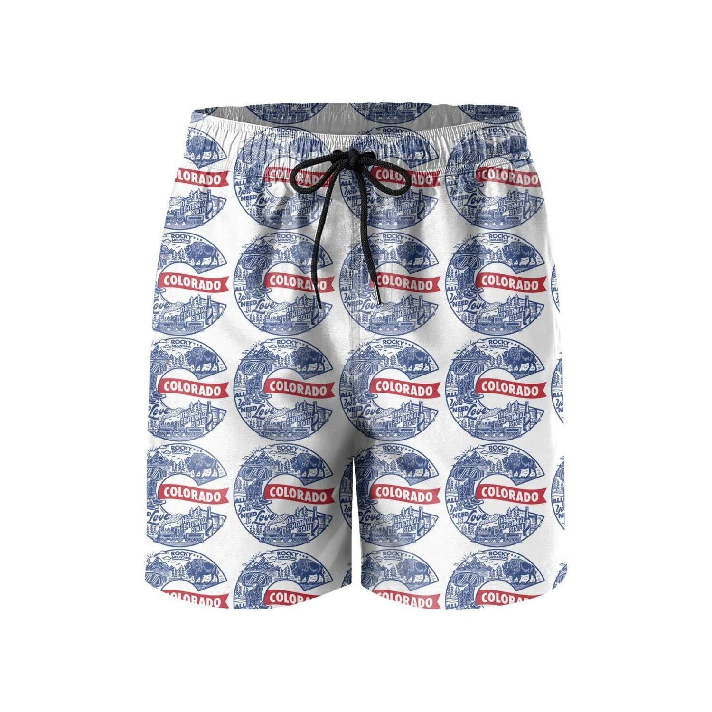 ZKGOD California Symbol Men Style Beach Shorts Core Slim Fit Elastic Adjustable Swim Short