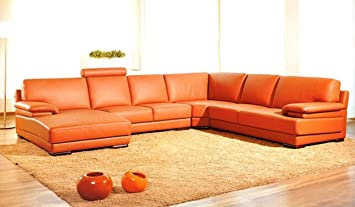 Merveilleux 2227 Orange Leather Contemporary Sectional Sofa With Chaise