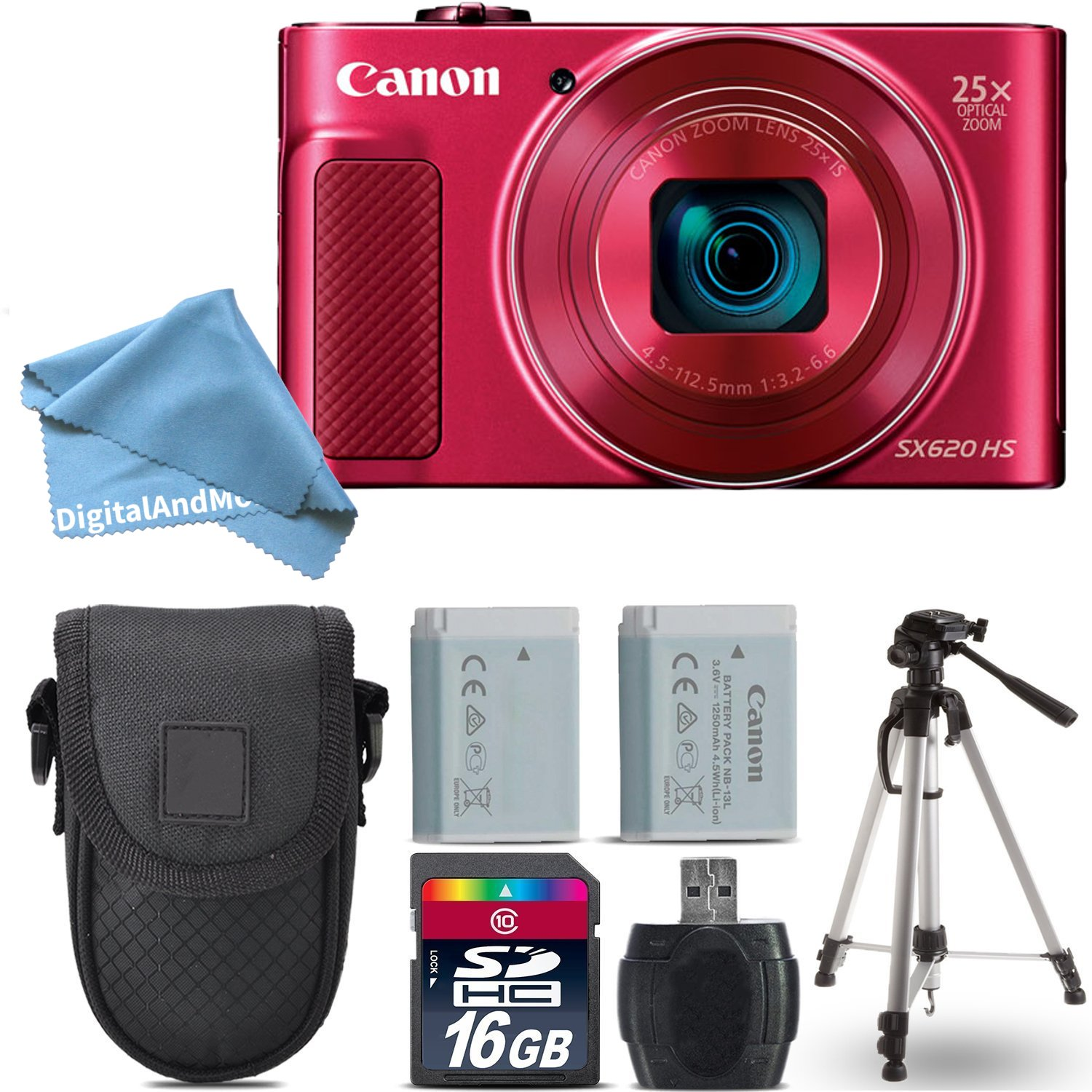 Canon PowerShot SX620 HS Digital Camera (Red) + 16GB Class 10 Memory Card + Backup Battery + Point & Shoot Camera Case + Card Reader + Tripod + Screen Protector + DigitalAndMore Accessory Bundle by DigitalandMore