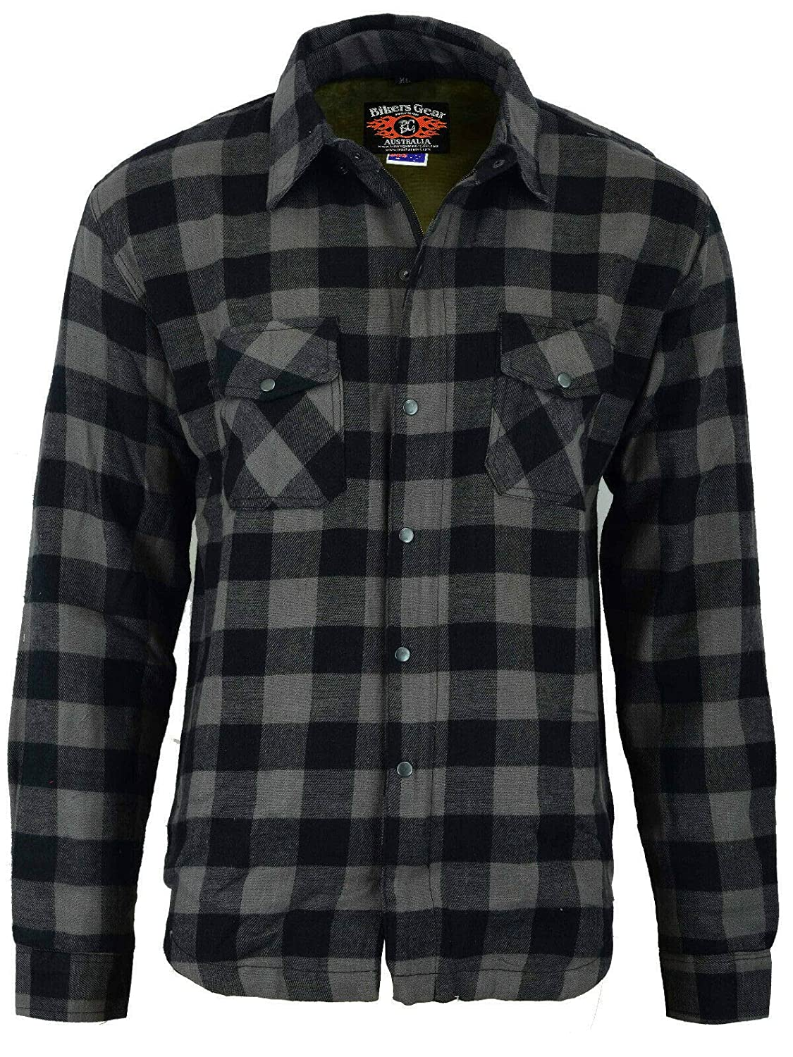 Bikers Gear Motorcycle Kevlar Aramid Lined Protective Flannel Shirt Stripe Black and Grey with CE 1621-1 Removable Armour /… L