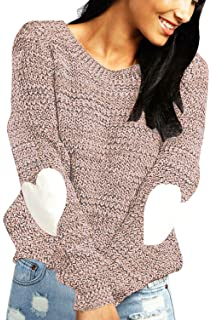 shermie Women s Cute Heart Pattern Patchwork Casual Long Sleeve Round Neck Knits  Sweater Pullover df1c9c603