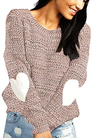 e35aefab5db shermie Women s cute Heart Pattern Patchwork Long Sleeve Round Neck Knits  Sweater Pullover Camel S