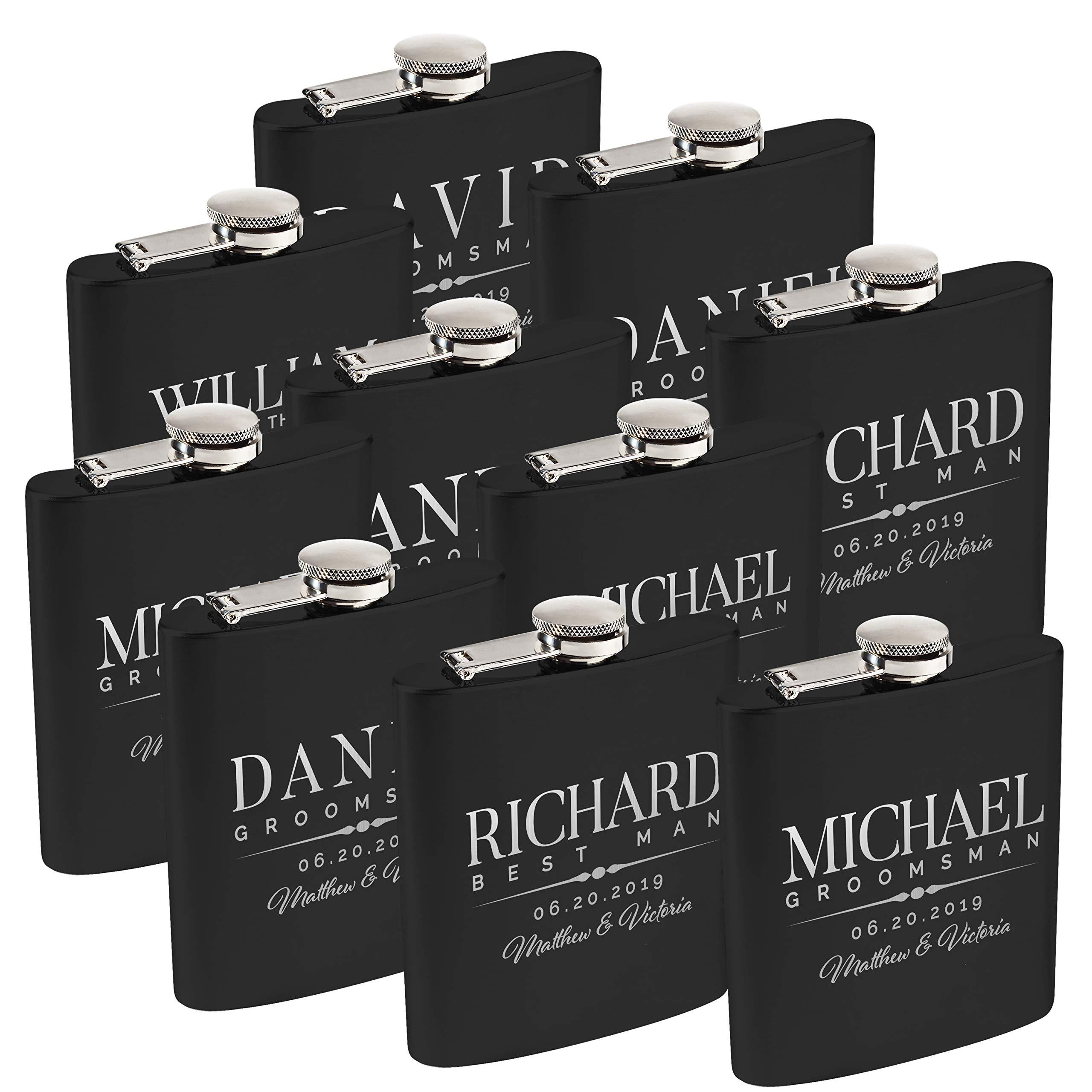 Personalized Flask For Wedding Groomsmen Gift, Customized Flask Set FREE Personalization - Laser Engraved - Design -5 (Black, 10)