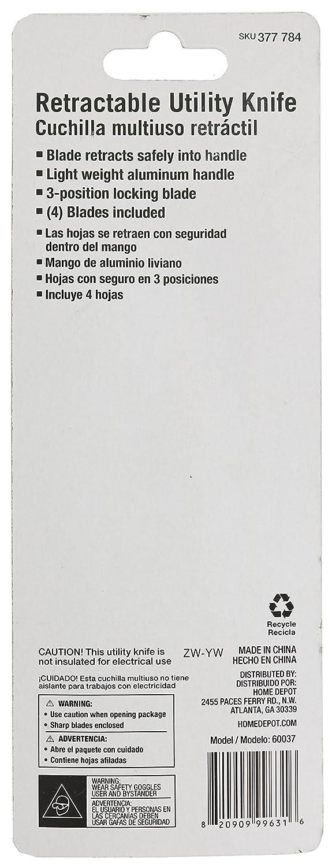 Amazon.com: HDX 377 784 - Cuchillo multiusos retráctil con ...