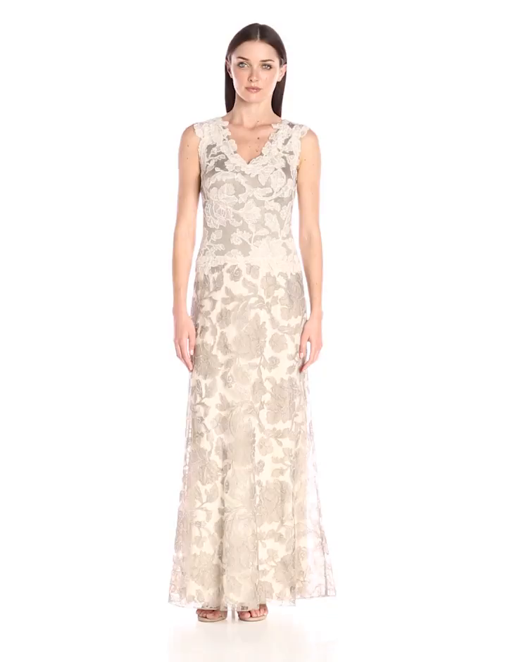 Amazon.com: Tadashi Shoji Women\'s Two-Tone Lace Gown with V-Neck ...