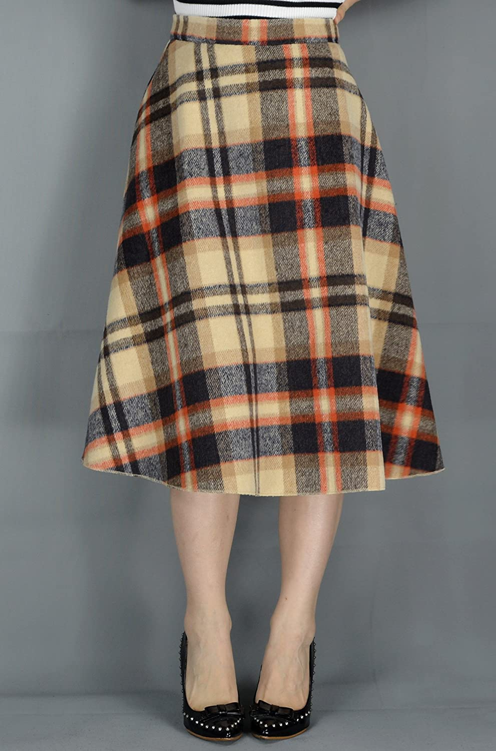 1940s Style Skirts- Vintage High Waisted Skirts YSJERA Womens Wool Midi Skirt A-Line Pleated Vintage Plaid Winter Swing Skirts $25.99 AT vintagedancer.com