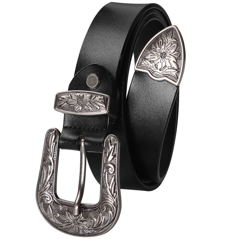 Women Western Belts Leather Thin Jeans Waist Belt 1.1 inch Wide Ladies Accessory Belts Top Quality Leather Belts Suit 40''-45'' Waist Plus Size Black
