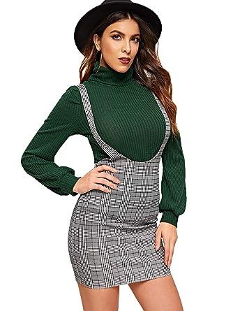 719929da92 SHEIN Women's Plaid High Waist Suspender Pinafore Bodycon Skirt Overall  Dress at Amazon Women's Clothing store: