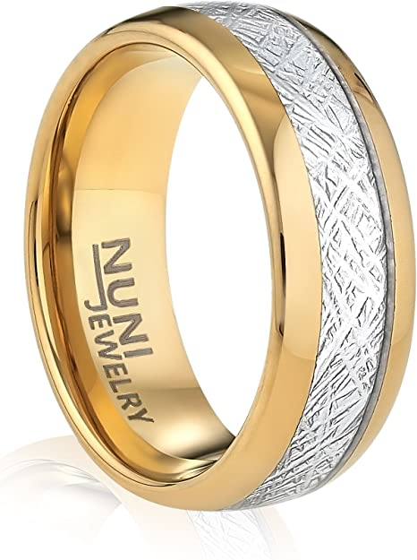 Brushed Ring Womens Ring Mens Ring Brushed Tungsten Carbide Unisex Band 8mm Tungsten Ring Yellow Gold* Striped Ring Wedding Band