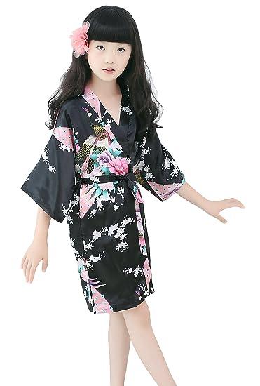 4dd17e6718b22 Peacock Silk Kimono Robe Bridesmaid Robes/Wedding Robe/Nightgown for Child  Black
