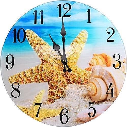 Shell Glass Wall Clock New 13 X 13 Home Wall Decor Coastal Nautical Beach