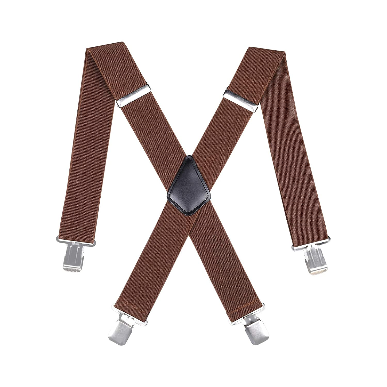 Mens Utility Suspenders X Shape Wide 2 Solid Straight Clip Suspender Navy blue