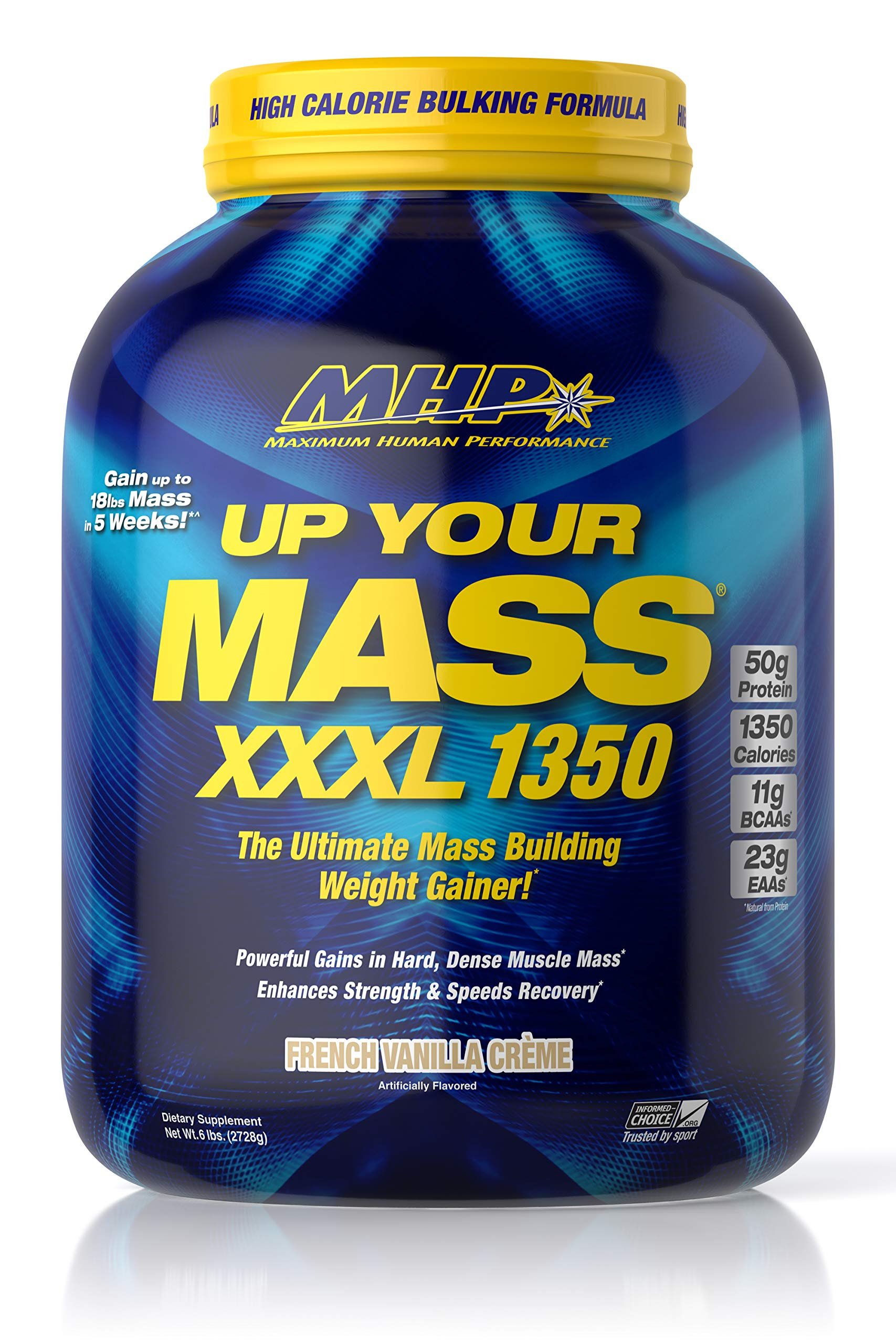 MHP UYM XXXL 1350 Mass Building Weight Gainer, Muscle Mass Gains, w/50g Protein, High Calories, 11g BCAAs, Leucine, French Vanilla Creme, 8 Servings