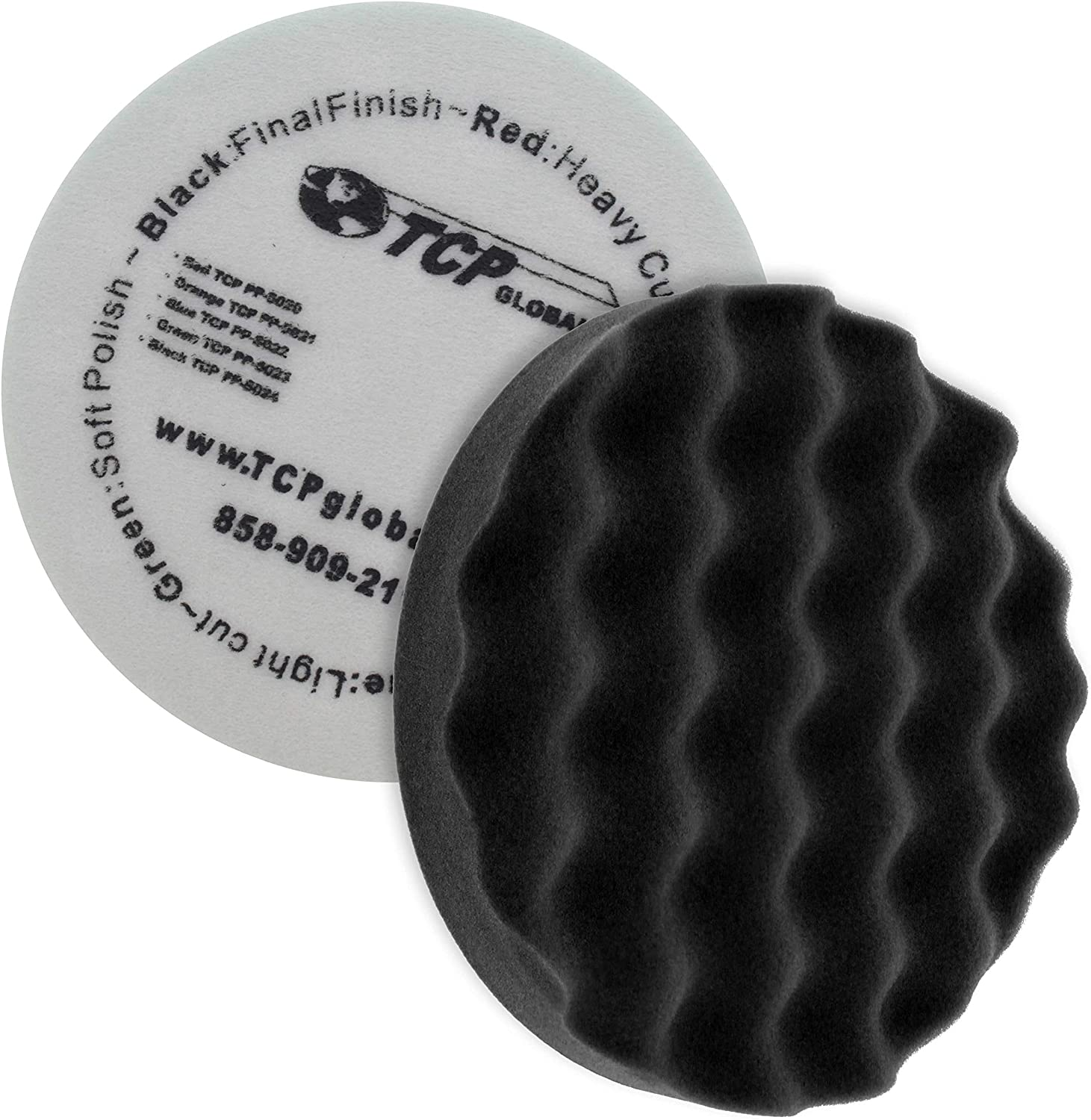 """8/"""" Black Convoluted Face Foam Grip Finishing Pad Recessed Back 820WG"""