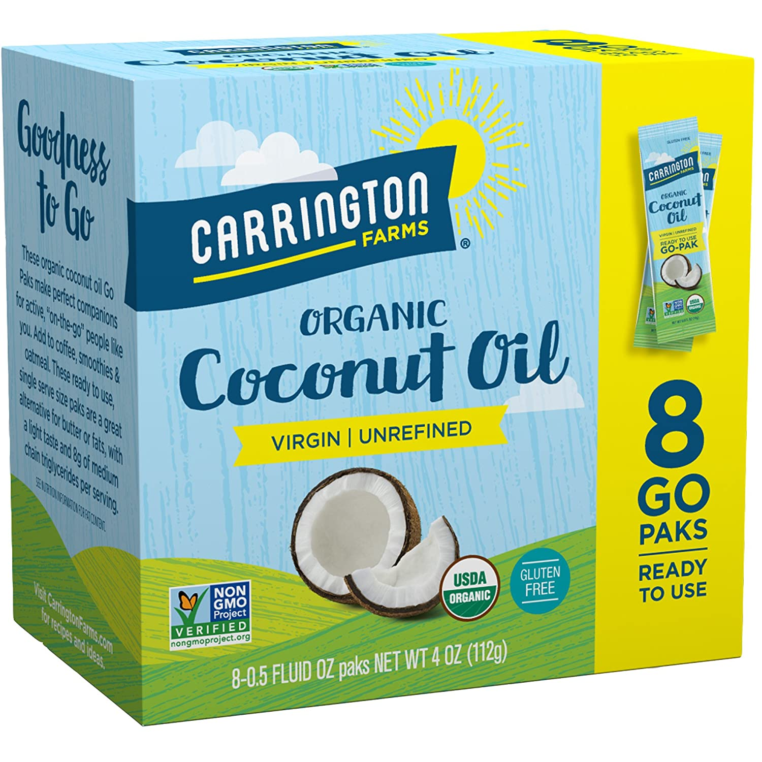 Carrington Farms Gluten Free, Unrefined, Cold Pressed, Virgin Organic Coconut Oil, 8 Packets (Pack of 6), Coconut Oil For Skin & Hair Care, Cooking, & Smoothies