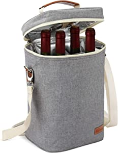 ZORMY 4 Bottle Insulated Wine Tote Carrier Cooler Bag, Travel Padded Wine Cooler with Corkscrew Opener and Adjustable Shoulder Strap, Perfect Wine Lover's or Wedding Gift Grey