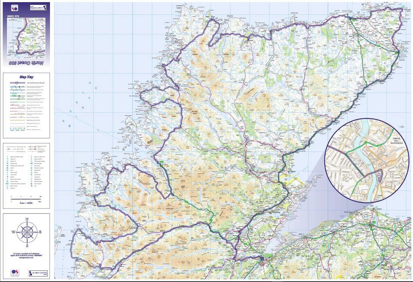 North Coast 500 Map Flat Satin Photo Paper