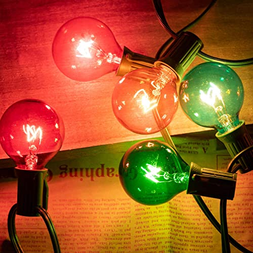 25Ft G40 Globe Patio String Lights with 25 Transparent Multicolor G40 Bulbs, UL Listed Hanging Indoor Outdoor Christmas String Lights for Backyard Bistro Pergola Market Garden Party Decor, Green Wire