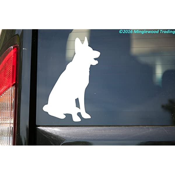 Minglewood Trading German Shepherd Dog White Custom Vinyl Decal 5 x 3.5 GSD Alsatian Wolf Dog Canine