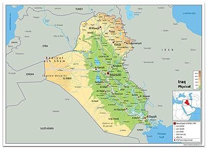 Cartina Iraq.Iraq Mappa Fisica Carta Plastificata Ga A1 Size 59 4 X