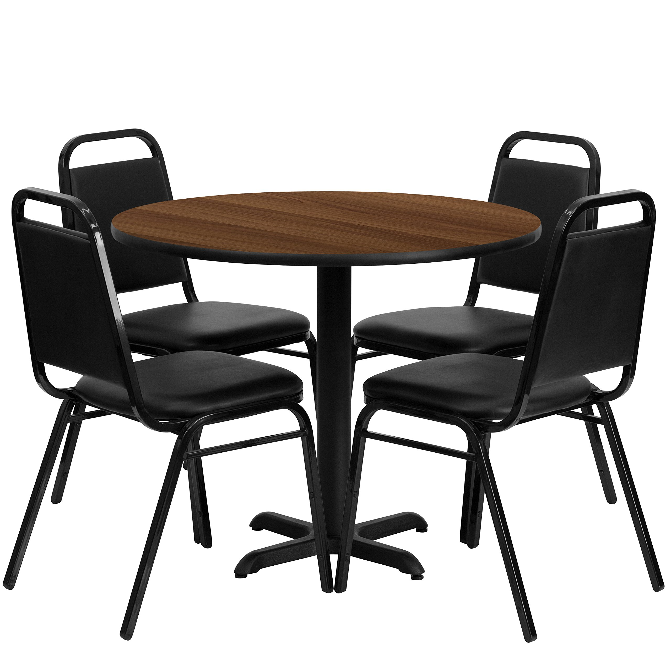 Flash Furniture 36'' Round Walnut Laminate Table Set with 4 Black Trapezoidal Back Banquet Chairs