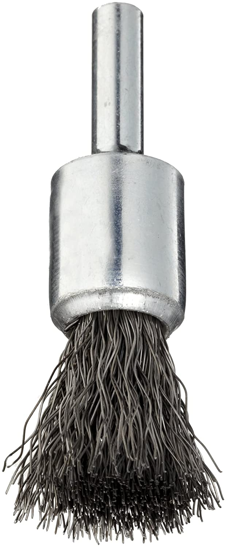 Weiler Wire End Brush Crimped Wire Round Shank 1//4 Shank 1//2 Diameter Steel 25000 rpm Solid End 0.0104 Wire Diameter Pack of 1