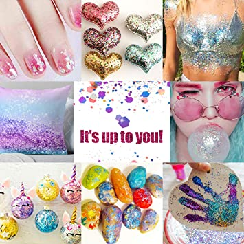Luckyfine Brillos Gruesos Holográficos 12 cajas, Purpurinas para Cara, Cuerpo, Ojos, Pelo, Uñas y Festival, Tatuajes Temporales - 8x10ml Brillo ...