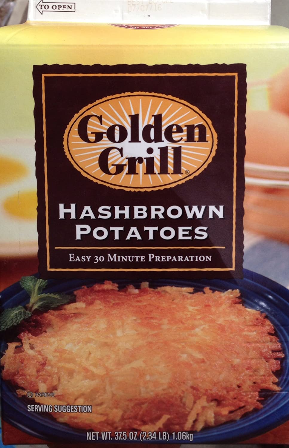 Golden Grill Hash Brown Potatoes 37.5 Oz. (2.34 Lb) ,60 Servings