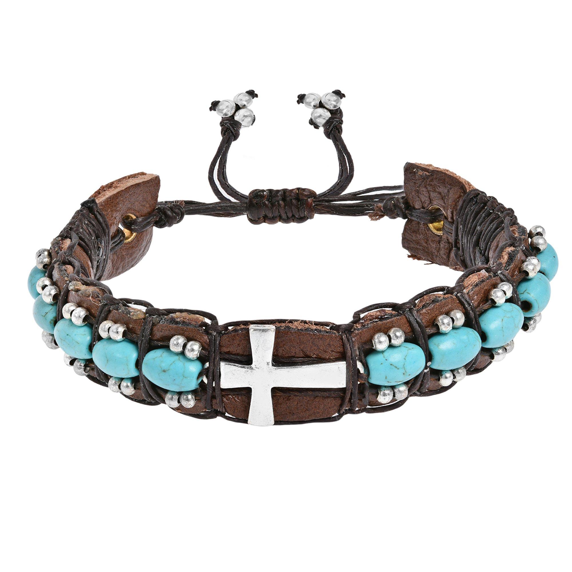 AeraVida Sleek Sideways Cross Simulated Turquoise Rolls Leather Adjustable Wrist Pull Bracelet