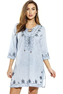 abd90335eecf Just Love Womens 3 4 Sleeve Swimsuit Cover up Casual Tunic Resort ...