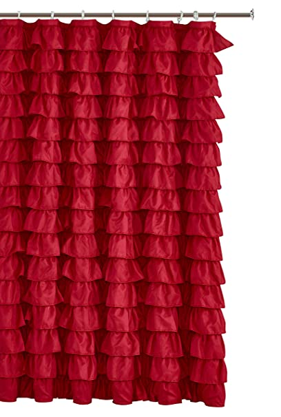 Spring Home Waterfall Ruffled Fabric Shower Curtain RED