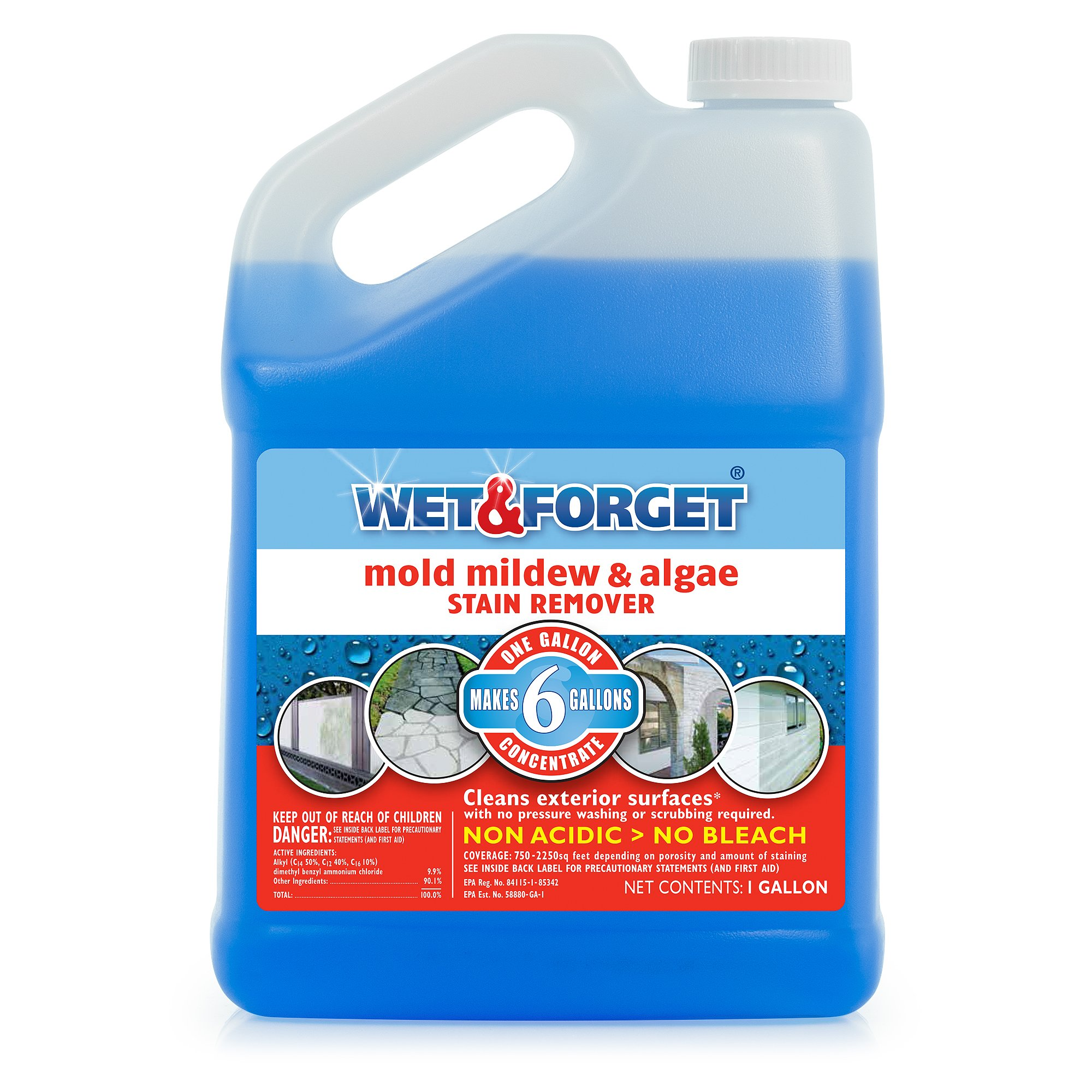 Wet & Forget Mold, Mildew & Algae Stain Remover, 1 Gallon