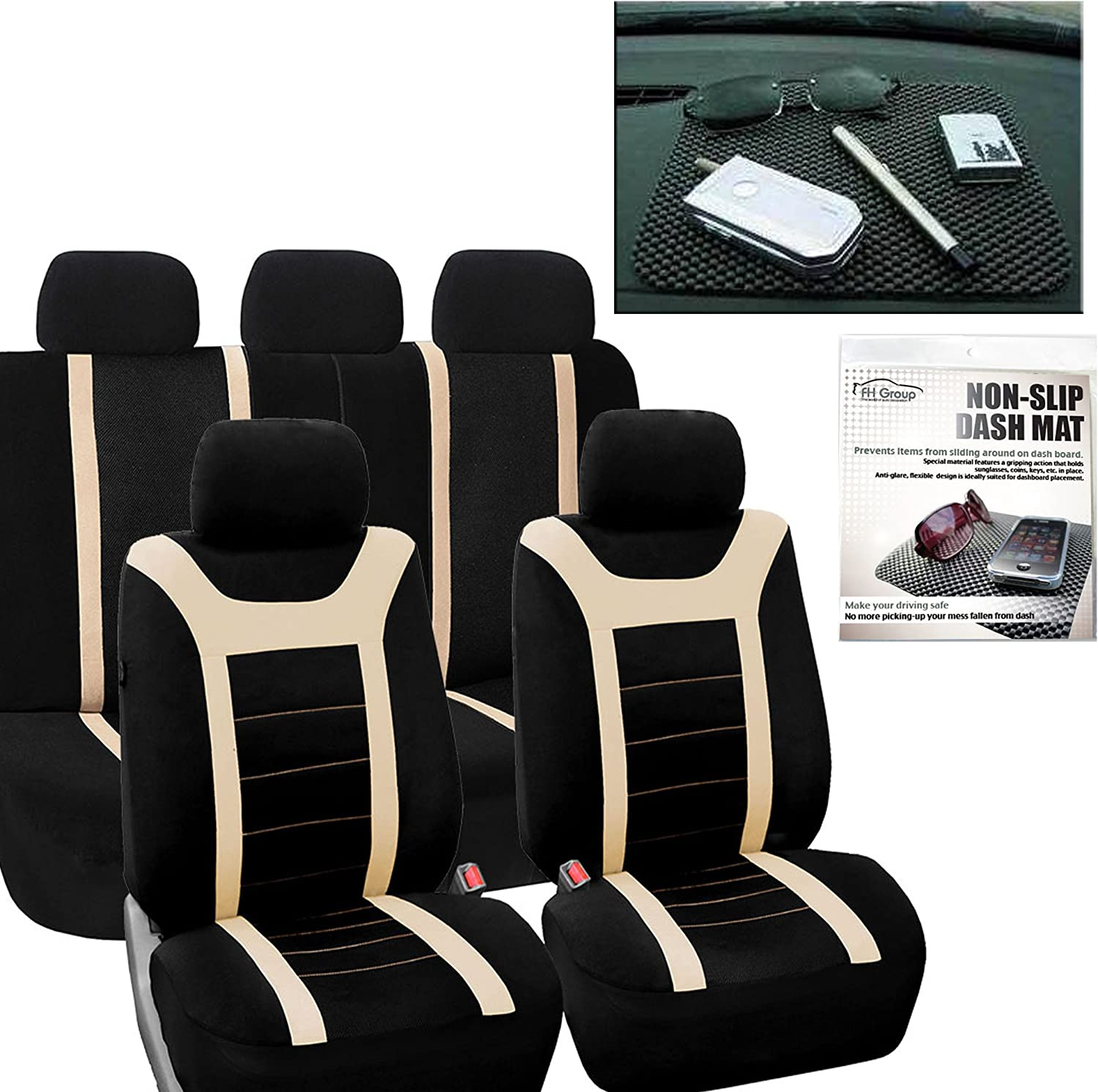 FH Group FB070115 Sports Seat Covers (Beige) Full Set with Gift – Universal Fit for Cars Trucks & SUVs